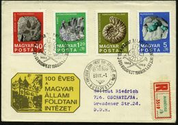 """UNGARN 1969 (1.9.) """"100 Jahre Geolog. Institut"""", Kompl. Gez. Satz = Fossilien (u. Mineralien Etc.) 4x ET-SSt: BUDAPEST ( - Geologie"""