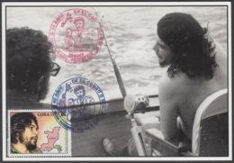 TMA-203 CUBA 2005 SPECIAL CANCEL MAXIM CARD ERNESTO CHE GUEVARA, FIDEL CASTRO FISING. - Tarjetas – Máxima