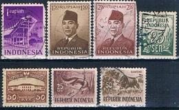 Indonesia 1949 / 63  -  Michel  33C + 104 + 111 + 112 + 175 + 180 + TAXAS  4  ( Usados ) - Indonesia