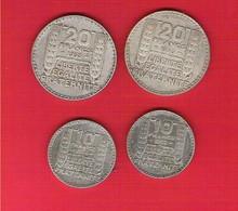 Lot De 4 Pièces 10 Et 20 Francs Argent Type Turin - Francia