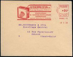 FRANKREICH 1957 (3.5.) AFS: PARIS 73/N 1345/ LA CALOPULSEUR S.A./..VENTILATEURS/ & ..CENTRIFUGES.. (= Elektro-Ventilator - Stamps
