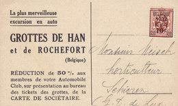 Belgium CPA GROTTES DE HAN Et De ROCHEFORT 1933 Sent To SCHIEN Luxemburg Precancel Heraldic Lion (2 Scans) - Vorfrankiert