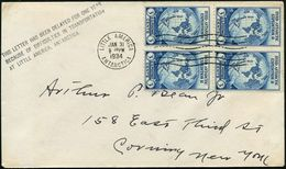 "U.S.A. 1934 (31.1.) MaWellenSt.: LITTLE AMERICA/ANTARCTICA Auf 3 C. ""Byrd Antarctic Expedition"", Reine MeF: 4er-Block +  - Antarctic Expeditions"