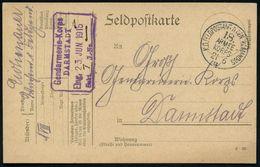 DEUTSCHES REICH 1915 (21.6) 1K: K.D. FELDPOSTAMT D. GEN. KOMMANDOS/18./ARMEE-/KORPS/B + Hs. Abs.:  Insp. D. Feldgend.(ar - Polizei - Gendarmerie