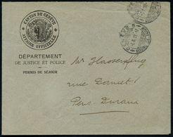 SCHWEIZ 1919 (3.10.) Portofreier Dienst-Bf.: CANTON DE GENEVE/ AFFAIRE OFFICIELLE/ DEPARTEMENT/DE JUSTICE ET POLICE Mit  - Polizei - Gendarmerie