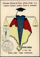 BRASILIEN 1960 (17.12.) SSt: PASSO FUNDO RS/JVS ET LEX/PRO JURE QUANVIS CONTRA LEGEM (Schwert, Waage) Auf Gedenkblatt: J - Polizei - Gendarmerie