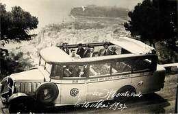 Pays Div -ref T619- Carte Photo - Bus - Autobus - Voiture Automobile Taxi - Monaco - Monte Carlo -mai 1937 - - Monaco