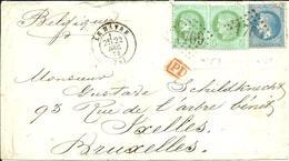 LE HAVRE Cachet Et Gros Chiffre 1769 Pour BRUXELLES - 1872 - - 1871-1875 Ceres