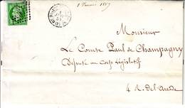 N° 12 Obl Sur FAIRE PART De PARIS Le 1 Er Janvier 1859 - 1849-1876: Classic Period