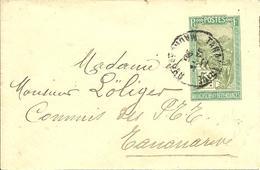 Sur Petite Enveloppe ENTIER Obl. TANANARIVE - Madagascar (1889-1960)