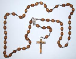 AR 183 -  ROSARIO CON GRANI  DI LEGNO LAVORATO - Religione & Esoterismo