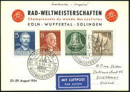 (22c) KÖLN/ RAD-WELTMEISTERSCHAFT 1954 (29.8.) SSt (Dom) 2x Klar Auf Zweifarbiger WM-Sonder-Kt. = Michaelis-Katalog Unbe - Cycling