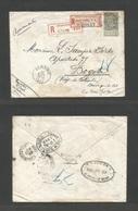 BELGIUM. 1903 (13 Oct) Seraing - Colombia, Bogota (23 Nov) Registered 50c Grey Green With Tah Fkd Env. Via Namur - NYC. - Belgium