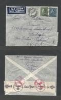 Belgium - XX. 1941 (24 Nov) POW Mail. Auvelais - USA, Washington. Air Fkd Env. Via Lisbon + Clipper. Nazi Censored 6.75 - Belgium