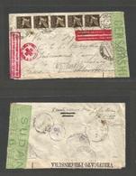 "SUDAN. 1942 (21 May) POW Mail. Sudan Internee Multifkd Air Envelope. Red Cross + Air Red Cachets ""Posta Aerea, POW, Via - Sudan (1954-...)"