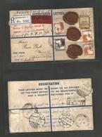 PALESTINE. 1936 (21 Apr) Mea Searim, Jerusalem - Austria, Wien (28-29 Apr) Via Ucine. Registered Insured 13 Ms Brown Sta - Palestine