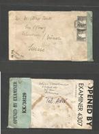 PALESTINE. 1944 (21 Ago) Tel Aviv - Switzerland, Zurich. Fkd Env +depart Dual Censor Labels, KK-38129 + British. Fine. - Palestine