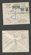 "PALESTINE. 1927 (31 March) Jaffa - Austria, Graz. Republic Multifkd ""PALESTINE"" Ovptd Issue. Reverse Via ""Kantana / P.O - Palestine"