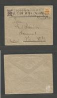 """PALESTINE. C. 1922 - 3. Jaffa - Austria, Wien. PM - Rate Unsealed Multifkd Env, Triangular """"JA"""" Cachets. Ovptd Issue. VF - Palestine"""