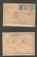 "SAUDI ARABIA. 1949 (4 April) Dhahran - Denmark, Copenhagen. ""Via BOAC"" (xxx/R) Air Multifkd Env, Bilingual Cds. VF Scarc - Saudi Arabia"