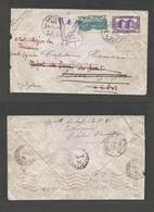 "SYRIA. 1942 (1 July) WWII. Lattaquie - Deir Ez Zor. 30r. Military Mail /OAS. Syrian South Territories. Fkd Env + ""V"" Typ - Syria"