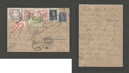 POLAND. 1929 (5 Aug) Mochy - Germany, Berlin (7 Aug) 15s Blue Stationary Card + 5 Adtl Stamps Fkgs For Express Service, - Polonia