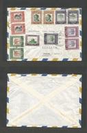 JORDAN. 1956 (8 Dec) Jerusalem - Sweden, Tyringe. Air Multifkd Envelope, Bilingual Cachet. Fine Used. - Jordanien