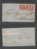 PHILIPPINES. 1859 (20 Sept) Manila Local Multifkd Letter Front Bearing 5c Vermelion Strip Of Three Full Margin, Blue Cds - Philippinen