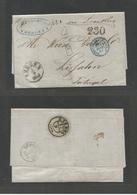 """NORWAY. 1868 (5 Sept) Bergen - Portugal, Lisbon (17 Sept) Via Sandsund (10 Sept) + France. Stampless. EL Full Text + """"FR - Norway"""