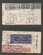 PANAMA. 1942 (11 July) Changuinola F-5 - Jamaica, BW Indies (Oct 7) Registered, Censored + Official Seal. Tied Label, On - Panama