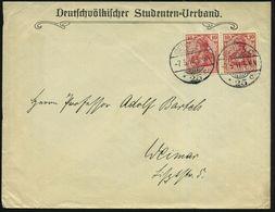 BERLIN C/ *25c 1911 (7.5.) 1K-Gitter Auf Vordr.-Bf.: Deutschvölkischer Studenten-Verband = NS-Vorläufer! An Prof. A. Bar - Stamps