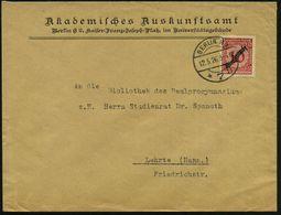 BERLIN NW/ *7ii 1926 (12.5.) 1K-Brücke Auf EF 10 Pf. Dienst, Dienst-Bf.: Akademisches Auskunftsamt..Universitätsgebäude  - Stamps