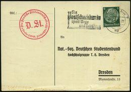 Berlin /  Dresden 1936 (15.4.) Dienst-Kt.: Nat.-Soz. Deutscher Studentenbund T.H. Dresden , Antwort-Einladungskt.: Festl - Stamps