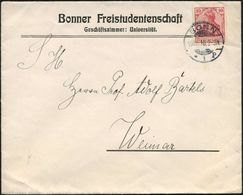 BONN/ *1p 1910 (19.12.) 1K-Gitter Auf Vordr.-Bf.: Bonner Freistudentenschaft ..Universität An Prof. Adolf Bartels, Weima - Stamps