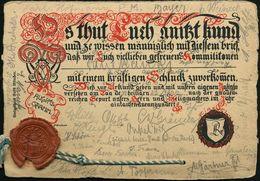 CHEMNITZ/ *1q 1901 (23.3.) 1K-Gitter Auf Studenten-Ulk-Karte Zum Alkohol-Konsum (Büttenpapier Mit Lack-Siegel !) Bedarfs - Stamps
