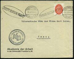 FRANKFURT/ *(MAIN)1/ B/ ÄLTESTE DT.MESSE 1929 (9.2.) BdMWSt Auf Dienstbf.: Akademie Der Arbeit (schwache Mittelfalte) EF - Stamps