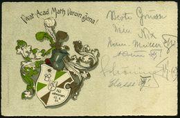 JENA /  RUDELSBURG 1911 (1.7.) Color-Litho-Ak.: Vivat Acad. Math. Verein Jena! (Wappen) 1K-Gitter: RUDELSBURG/*** = Haus - Stamps