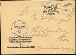 KASSEL 7/ Sb/ Benutzt/ Die/ Luftpost! 1942 (2.3.) MWSt Auf Zweckentfremdeten Dienst-Bf.: NSD. STUDENTENBUND.. WÜRT-TEMBE - Stamps