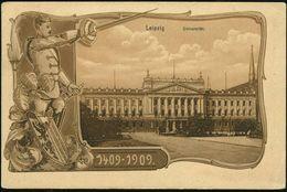 LEIPZIG/ UNIVERSITÄTS-JUBILÄUM/ FESTKOMMERS 1909 (30.7.) SSt (rechts Minim.nicht Voll) Klar Auf Monochromer Jubil.-Sonde - Stamps