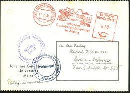 (22b) MAINZ-UNIVERSITÄT/ Johannes/ Gutenberg-Universität.. 1953 (11.2.) Seltener AFS = Hauspostamt Universität! (Gebäude - Stamps