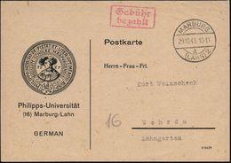 MARBURG/ D/ (LAHN)2 1945 (29.10.) 1K-Brücke + Roter Ra.2: Gebühr/bezahlt , Dekorative Dienst-Kt.: Philipps-Universität.. - Stamps