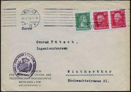 MÜNCHEN/ *13* 1929 (11.3.) BdMaSt + Viol.HdN: LABOR F.TECHN. PHYSIK..TECHN.HOCHSCHULE (bayer. Wappen) Dienst-Ausl.-Bf. ( - Stamps
