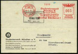 MÜNCHEN/ 16/ HDB/ Studentenwerk/ ..Die Deutsche Hochschule/ Den Besten Der Jugend/ Werdet Förderer! 1938 (19.5.) AFS Auf - Stamps