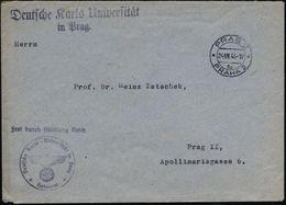 BÖHMEN & MÄHREN 1944 (24.7.) 2K-Steg: PRAG 2/3c/PRAHA 2 + 2L: Deutsche Karls Universität/ In Prag + HdN: FdAR/ Deutsche  - Stamps