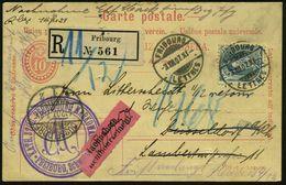 SCHWEIZ 1907 (3.12.) 10 C. Ausl.-P Ziffer-Oval, Karmin (2x Kaum Sichtbare Kerbe) + Zusatzfrankatur 25 C. Helvetia (Mi.81 - Stamps