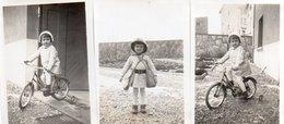 9-86Ve  Jeux Jouet Velo Casque Sac D'enfant Fillette En 1940 Lot De 3 Photos - Games & Toys