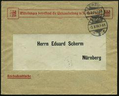 """LEIPZIG/ *2c 1904 (3.9.) 1K-Gitter Auf Portofreiem Dienstbf.: """"Reichsdienstsache"""": Mitteilungen..Weltausstellung In St.  - Weltausstellung"""