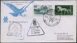 LEIPZIG BPA32/ LUFTPOST/ MM/ LEIPZ.MESSE 1958 (5.9.) SSt Auf Expo-Sonderflug: Budapest - Brüssel (AS) Amtl. HdN: Atomium - Weltausstellung