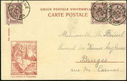 BELGIEN 1905 (28.6.) 1K-SSt: LIEGE/EXPOSITION, 3x Klar Auf Amtl. S/w.-Sonder-Ak.: LIEGE 1905 EXPOS.UNIVERSELLE (Logo) Be - Weltausstellung