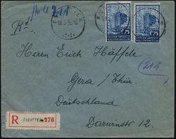 """BELGIEN 1935 (18.2.) 1,75 F. """"Expo Brüssel"""", Reine MeF: 2 Stück (Großer Palast) Sauber Gest. Ausl.-R-Bf., Seltene Franka - Weltausstellung"""